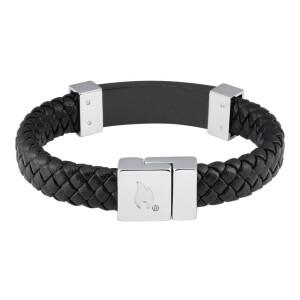 Leather Bracelet Black w Steel