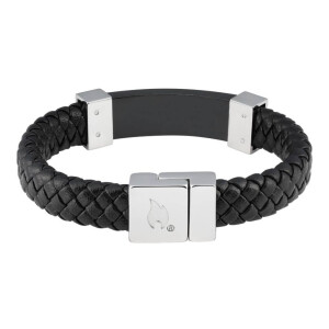 Leather Bracelet Black w Steel