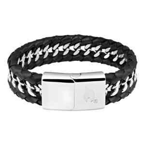 Leather Steel Mix Bracelet