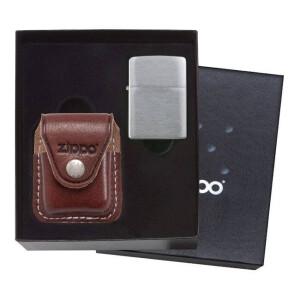 Zippo poklon set sa torbicom LPCB - clip-smeđa sa upaljačem model 200